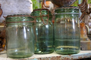 French glass mason jars.