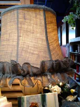 Burlap ruffled border on lampshades