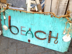 Beach sign from salvaged tools
