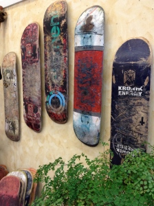 Skateboard decks mounted as art