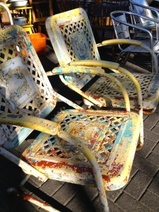 Iron garden chairs with great patina