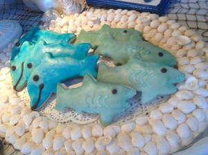 coastal/shark cookies